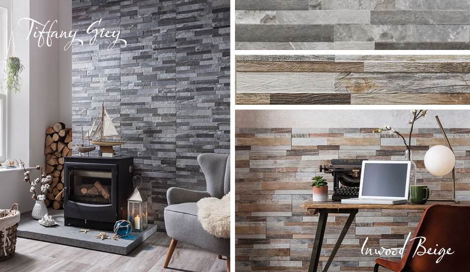 Grey split face tiles by Gemini in living room settings.