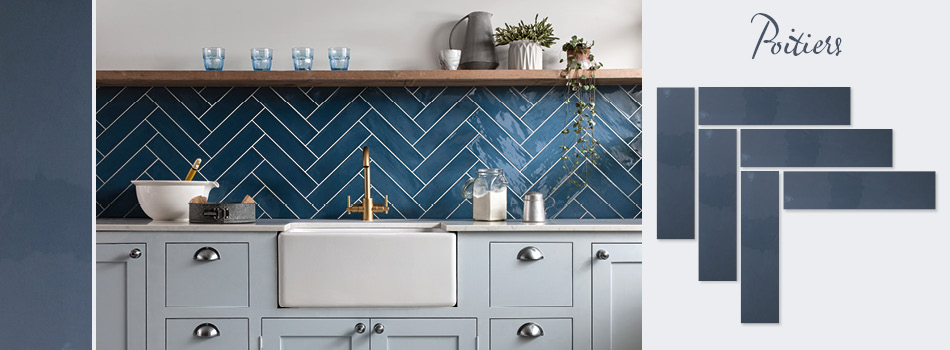 Blue Poitiers tiles in a kitchen setting.