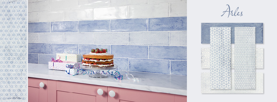 Blue Arles tiles in a Kitchen setting.