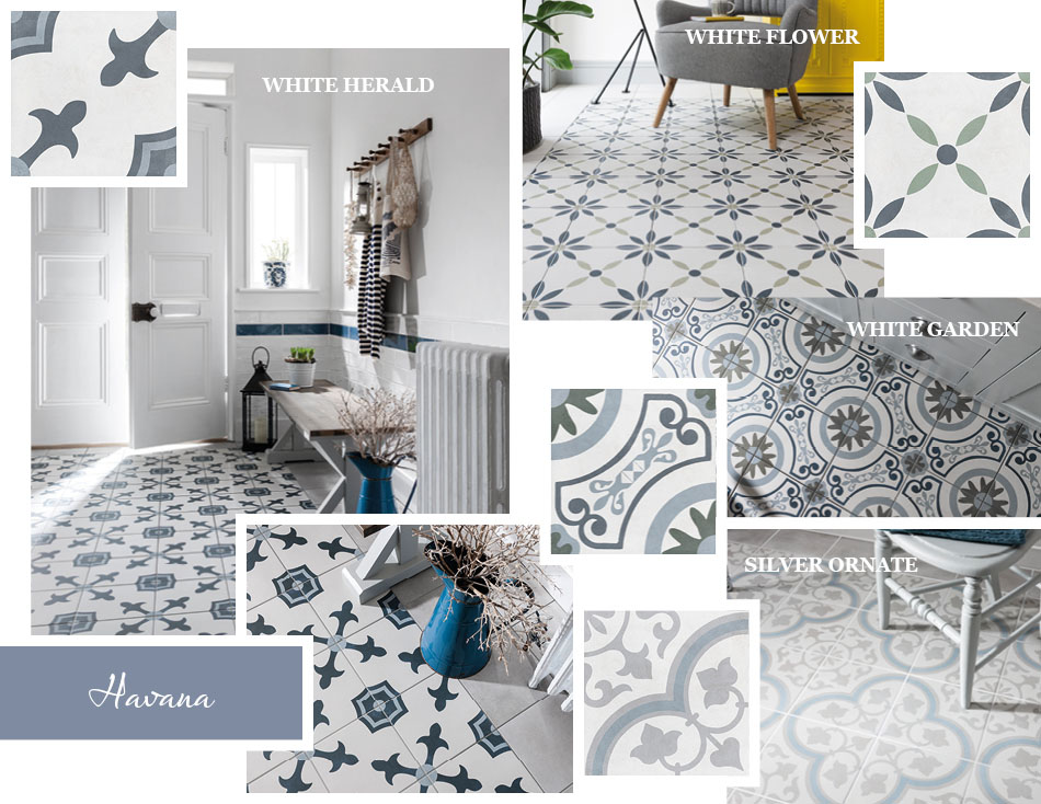 Havana patterned floor tiles from Gemini