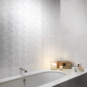 Marshalls Carrara Nouvo Marble Herringbone Mosaic