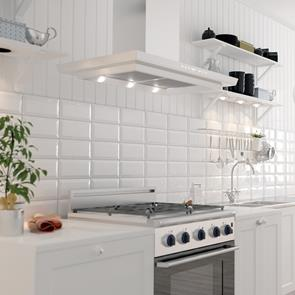White Bevelled Brick Gloss Glazed Ceramic Wall Tile By Gemini From Ctd Tiles