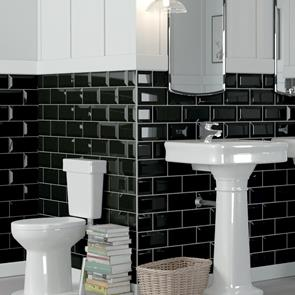 Metro Brick Black Gloss Bevelled Tile - 200x100mm