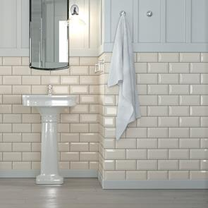 Metro Brick Beige Gloss Bevelled Tile - 200x100mm