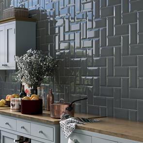 Metro Brick Dark Grey Gloss Bevelled Tile - 200x100mm