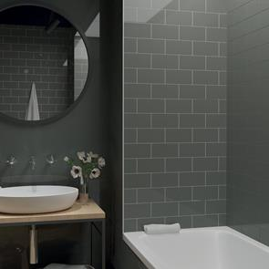 Metro Brick Dark Grey Gloss Tile - 200x100mm