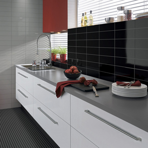 Step Black Glossy Tile - 300x100mm
