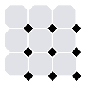 Victorian White Octagon and Black Dot Tile - 96x96mm (Sheet 300x300mm)