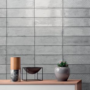 Arles Silver Gloss Tile 300x100mm Grey Patterned Wall
