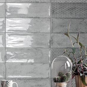 Arles Silver Décor Mix Gloss Tile - 300x100mm