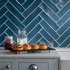 Poitiers Azure Blue Gloss Ceramic Wall Tile By Gemini