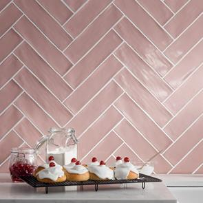 Poitiers Rose Pink Gloss Tile - 300x75mm