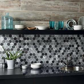 Colby Black Mix Glass & Metal Hexagon Mosaic 50x50mm