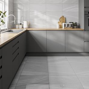 Pescara Mid Grey Gloss Tile - 600x600mm