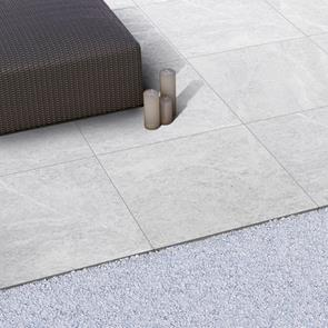 Veined Stone Light Grey Outdoor Tile - 600x600x20mm
