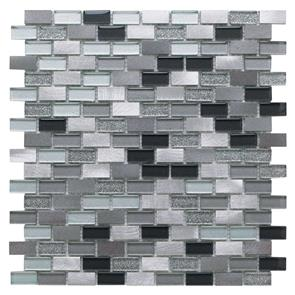 Platinum Lancer 139 Glass/Metal Mix Mini Brick Mosaic 15x30mm
