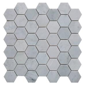 Fog Stone Hexagon Mixed Finish Marble Mosaic 48x48mm