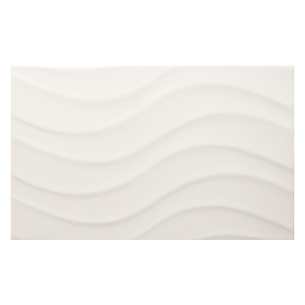 Streamline Wave White Matt Tile 400x250mm Wall Tiles