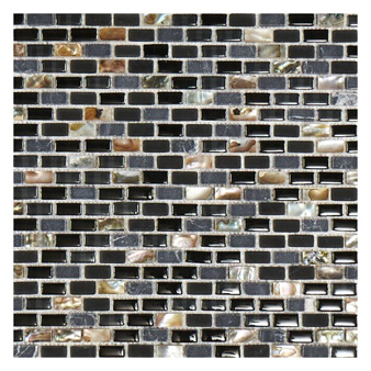 Marshalls Dahli Black Brick Mosaic Honed Tile 20x10mm