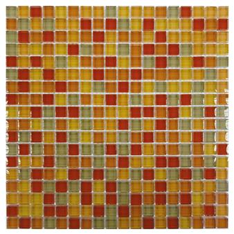 Gemini Crystal Red Flame Mosaic Tile - 15x15mm