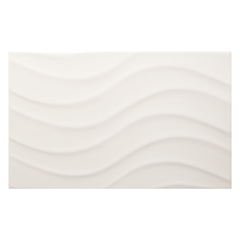 Streamline Wave White Matt Tile - 400x250mm