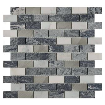 Castell Grey Stone & Metal Mix Brick Mosaic 23x48mm