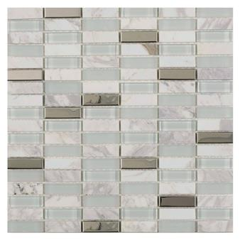 Hutton White Glass/Stone/Metal Mix Linear Mosaic 15x48mm