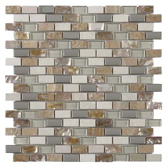 Cream Glass/Stone/Metal/Pearl Mix Mini Brick Mosaic 15x30mm