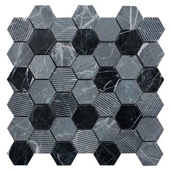 Midnight Stone Hexagon Mixed Finish Marble Mosaic 48x48mm