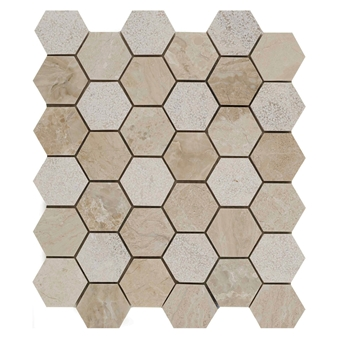 Vanilla Cream Mix Finish Marble Hexagon Mosaic 50x50mm